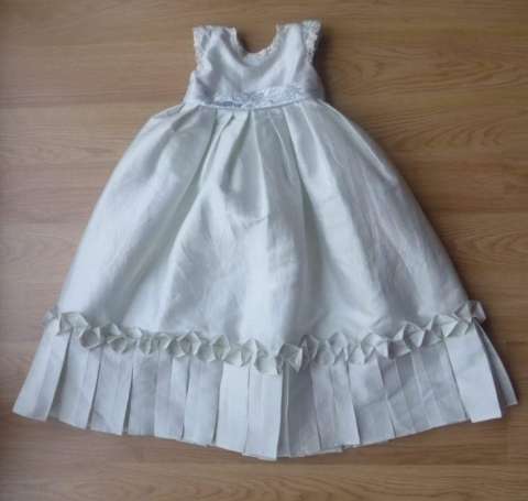 Pale blue silk mini-me christening dress by Felicity Westmacott