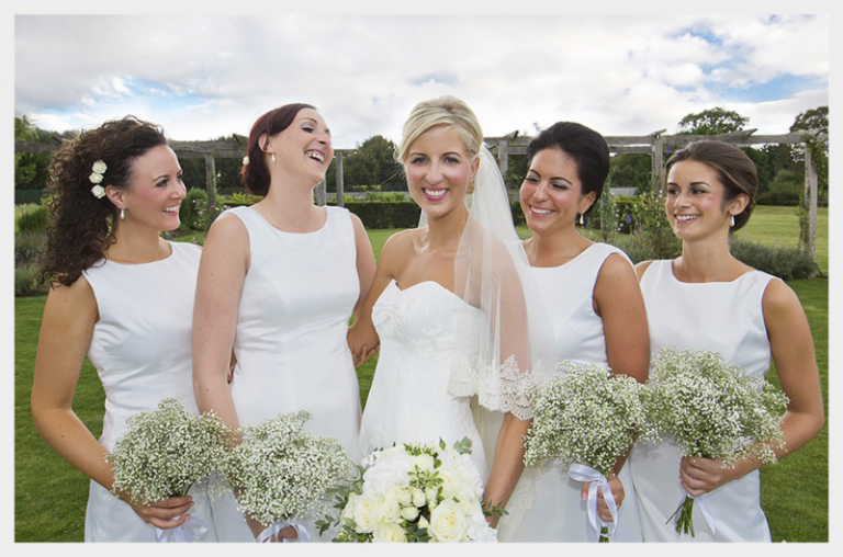 Royal Wedding inspired, matt Ivory Satin wedding dress, with lace applique detail: with 4 bridesmaids also in bespoke dresses
