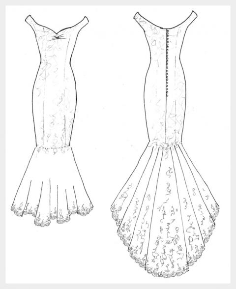 Royal Wedding inspired, matt Ivory Satin wedding dress, with lace applique detail: design sketch