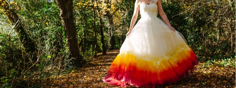 Dip-dye wedding dress in reds and golds by felicity Westmacott, Photography by Jessica Jill Partridge
