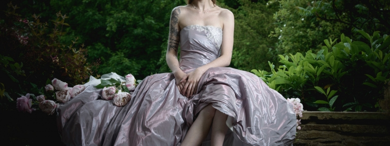 Purple taffeta wedding dress by Felicity Westmacott, photography by Simon Hooley