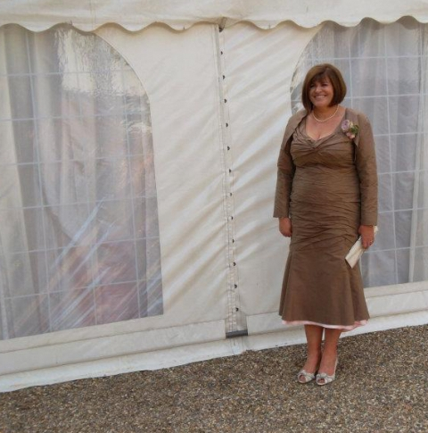Cocoa and pink silk ruched dress and peplum jacket by Felicity Westmacott