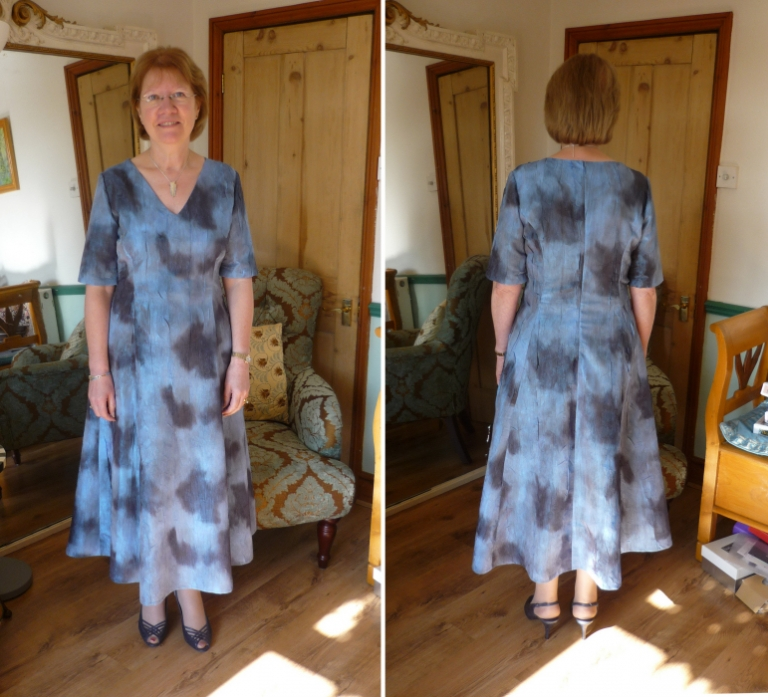 Blue print dress and jacket by Felicity Westmacott