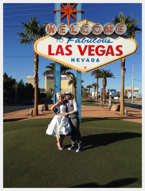Halloween theme wedding dress in white and purple by Felicity Westmacott: under the big Las Vegas sign!