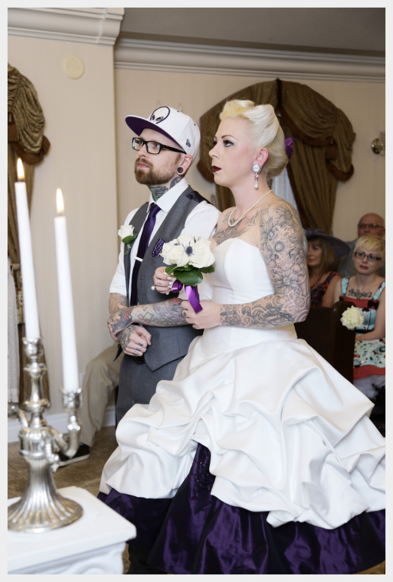 Halloween theme wedding dress in white and purple by Felicity Westmacott