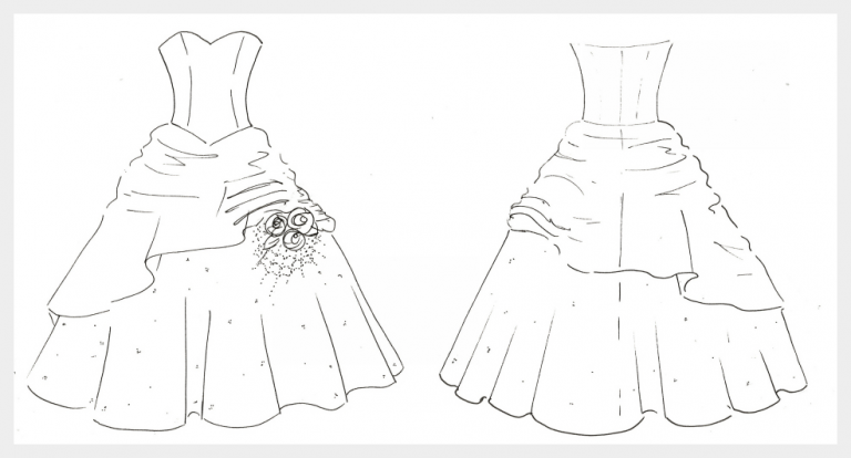 Halloween theme wedding dress in white and purple by Felicity Westmacott: design sketch