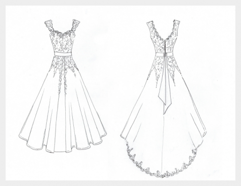 Ivory silk and lace wedding dress by Felicity Westmacott: design sketch