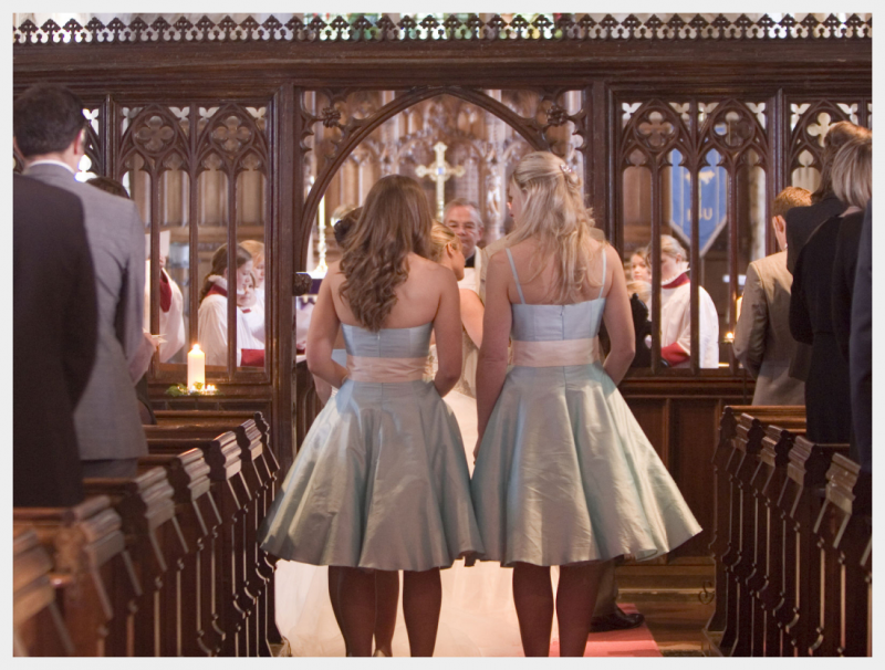 1950's style, Aqua blue silk bridesmaids dresses by Felicity Westmacott