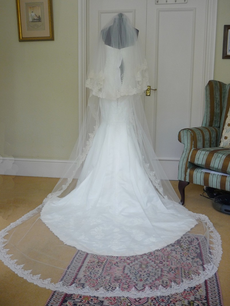 applique lace fishtail wedding dress and lace edge veil for Lauren ...