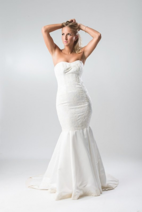 Royal Wedding inspired, matt Ivory Satin wedding dress, with lace applique detail