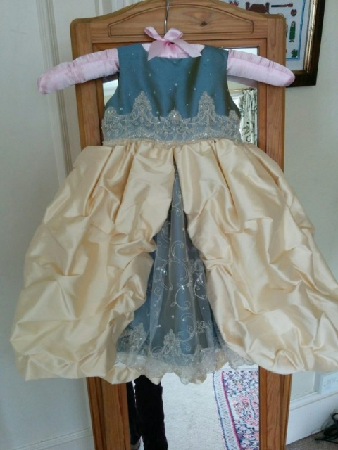 Mini-me Christening Dress in pale gold and blue silk with lace by Felicity Westmacott: finished dress