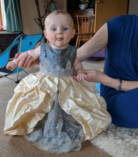 Mini-me Christening Dress in pale gold and blue silk with lace by Felicity Westmacott