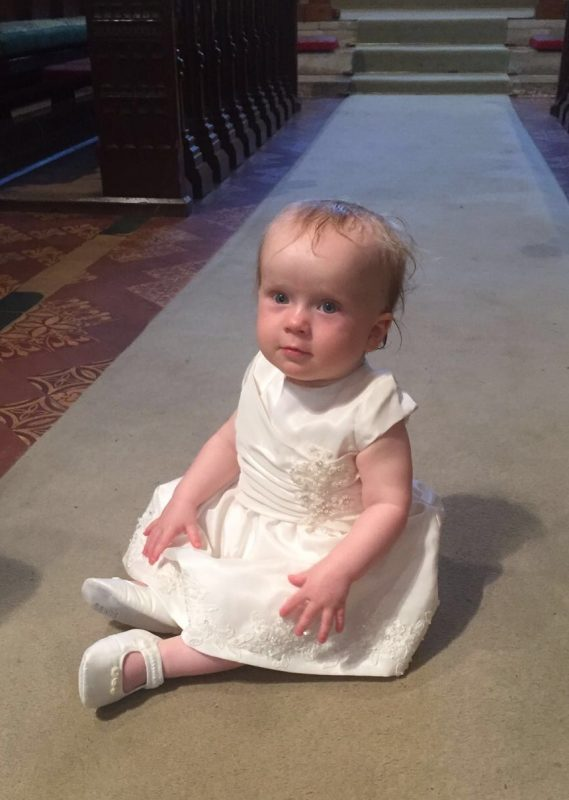 Mini-me christening dress by Felicity Westmacott, made from mummy's wedding dress in ivory taffeta and beaded applique