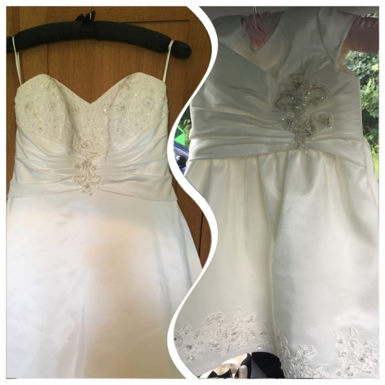 Mini-me christening dress by Felicity Westmacott, made from mummy's wedding dress in ivory taffeta and beaded applique: the dress before we cut it up: before and after