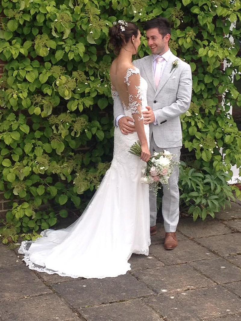 HelenG2 Ivory bespoke wedding dress with scalloped edge train