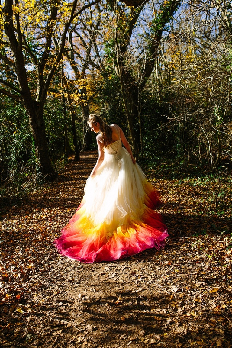 phoenix dip dye wedding dress made to order