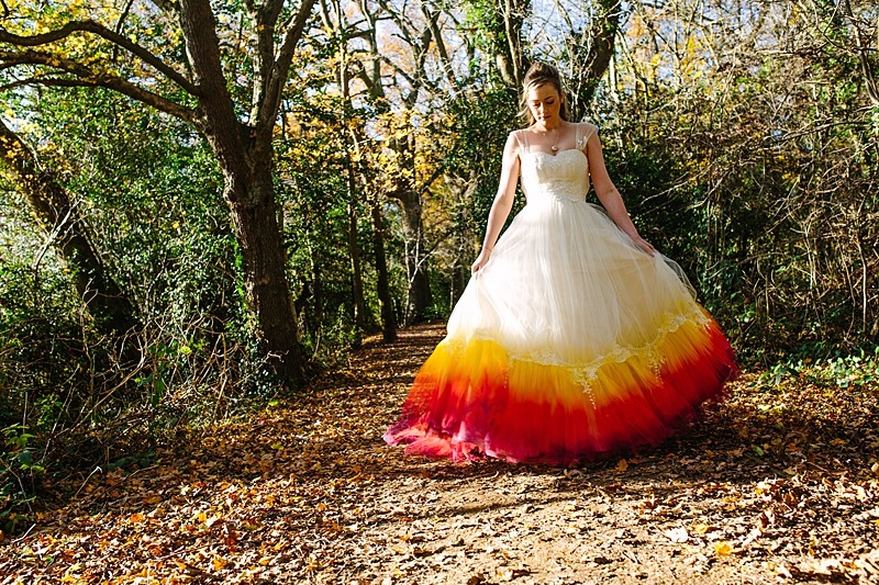 fire colour red yellow orange coloured wedding dress