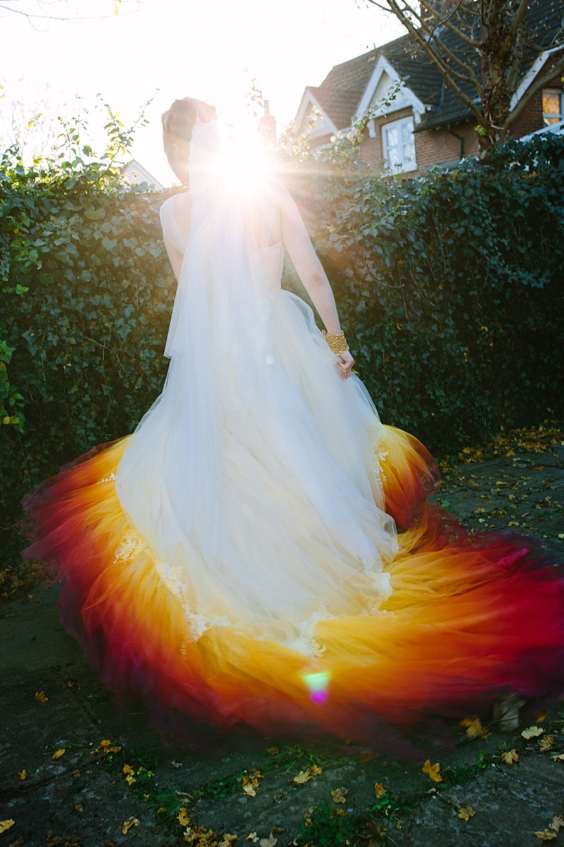 bespoke wedding dress ombre hem tulle silk ivory veil