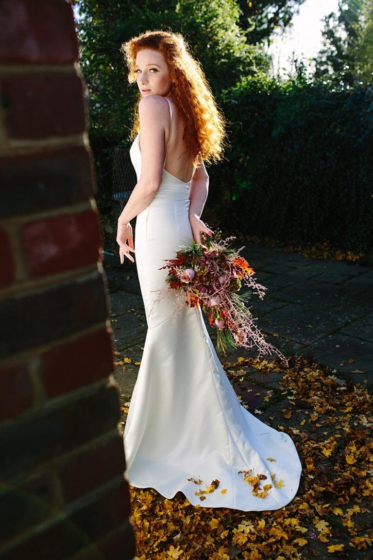 winter bride fishtail mermaid plain satin ivory wedding dress with train