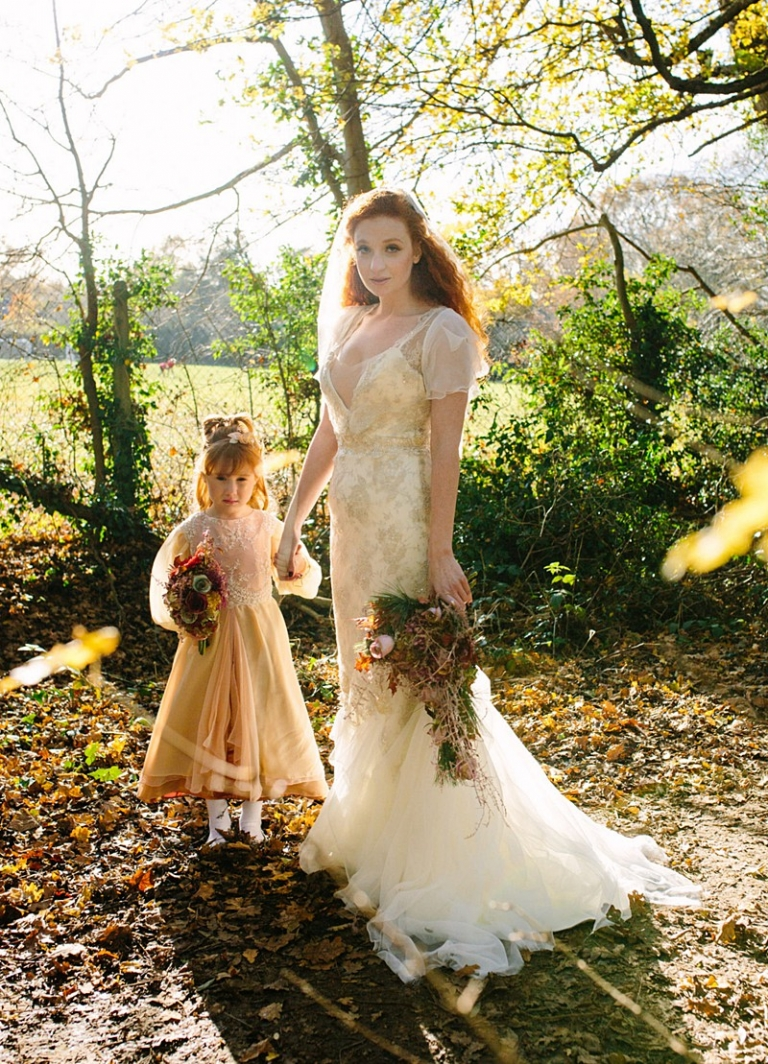 silver ivory vintage wedding dress rosegold flowergirl by Felicity Westmacott