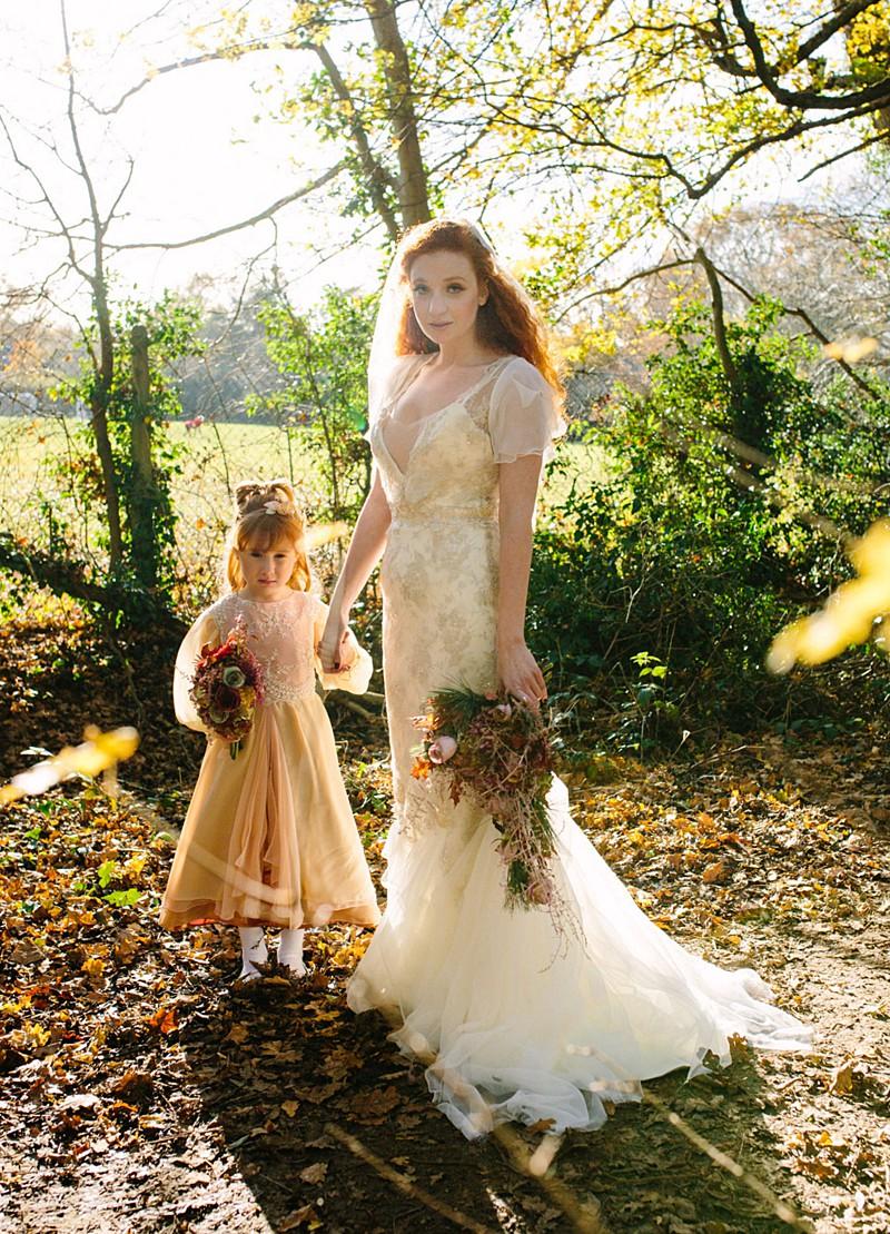 silver ivory vintage wedding dress rosegold flowergirl by Felicity Westmacott
