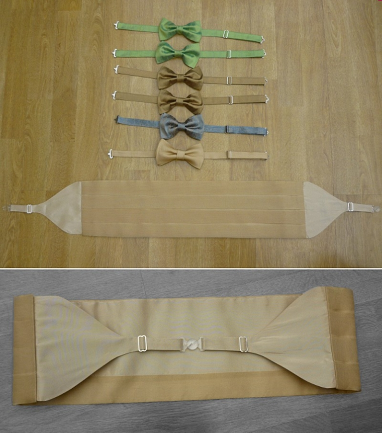 groomsmen bowties and cummberbund silk and organza sea colours