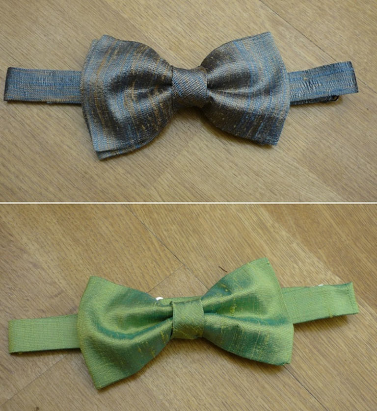 made to order groom best man usher bow ties silk dupion blue and green