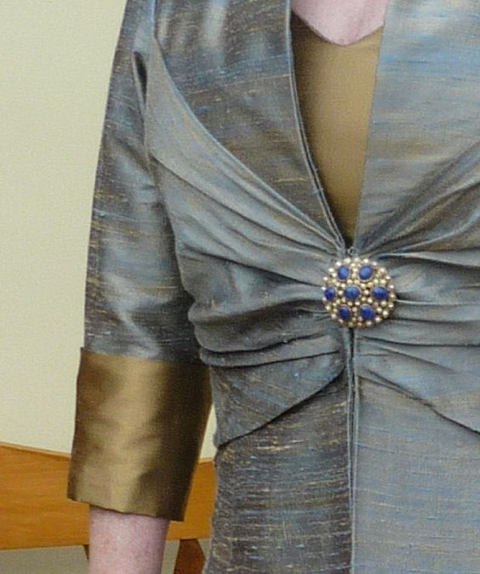 d1309cc29a1 ruched detail on dress coat with cuffs and brooch fastening Irene ...