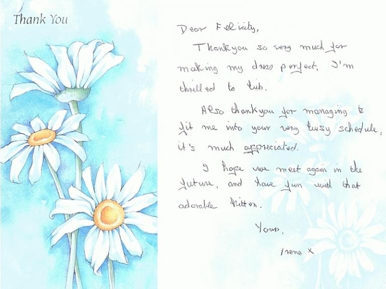 e3f6fcceed1 thank you letter testimonial recommendation of Felicity Westmacott Bespoke  dressmaker. Irene Wrote