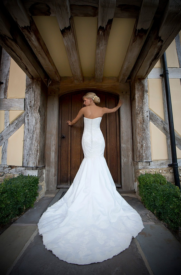 fitted strapless wedding dress with cathedral petal train bespoke