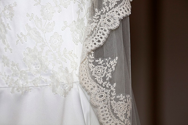 Wild lace applique detail and scalloped edge veil bespoke made