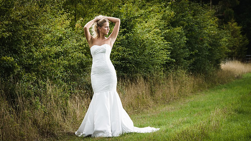 bespoke wedding dress English bride classic style duchess satin and lace