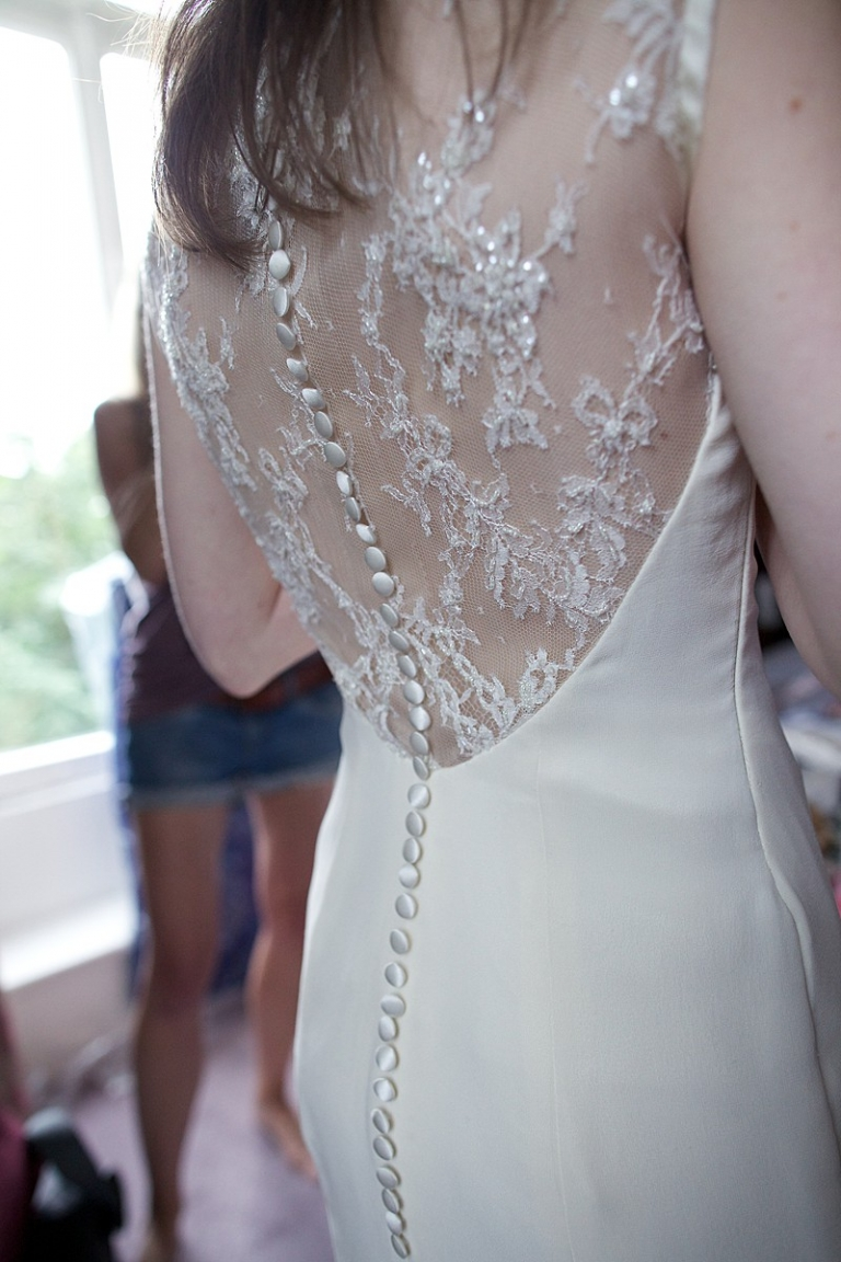 charlie 2 low back wedding dress with beaded lace and button detail