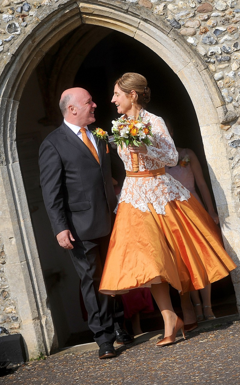 Orange Silk And Lace Vintage 1950s Wedding Dress Grooms Ties For