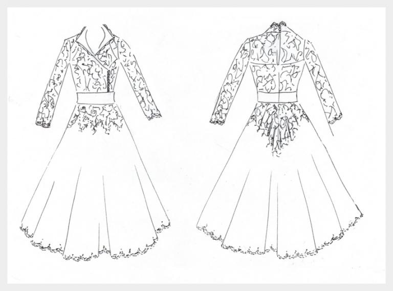 candler 16 design sketch for 1950's full skirt vintage wedding dress