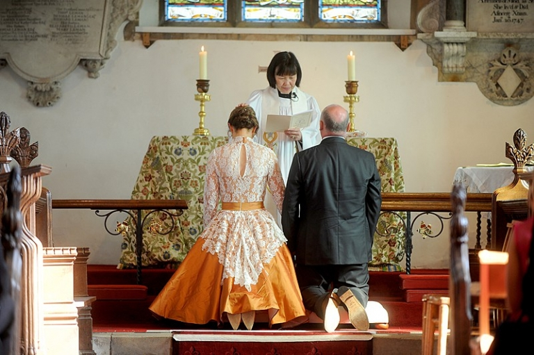 candler 9 english church wedding orange gold coloured silk