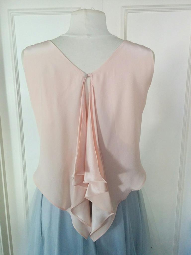 case 5 Silk georgette peach pink blush open waterfall back