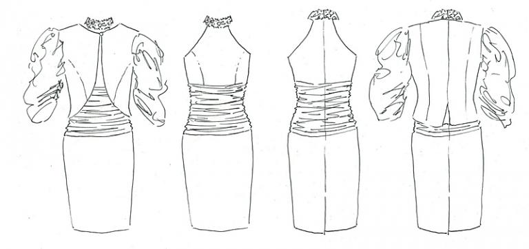 original design sketch by Felicity Westmacott dress and jacket