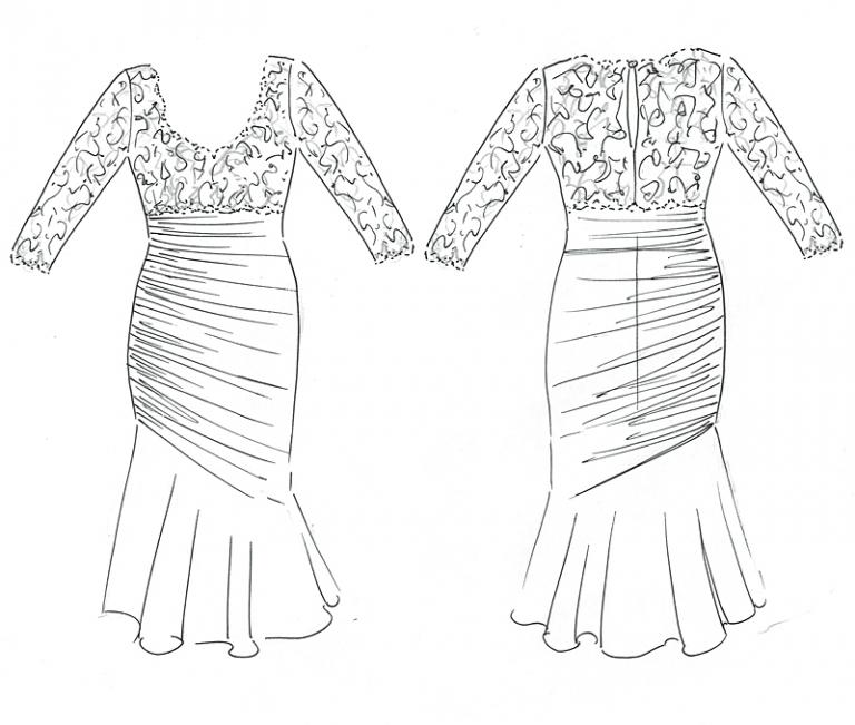 original design sketch for bespoke mother of the bride dress by Felicity Westmacott
