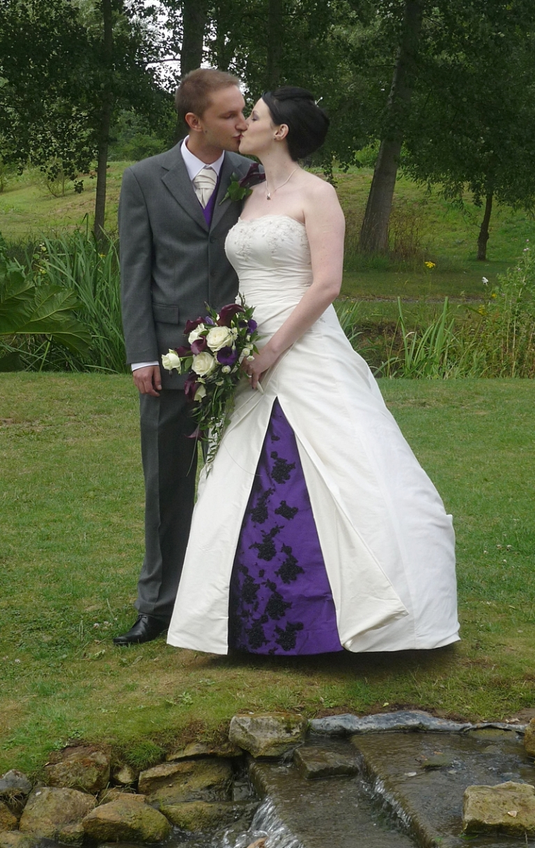 bespoke couture strapless modern silk dupion ivory and purple wedding dress