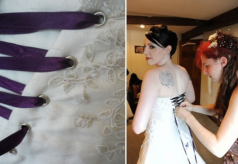 lace up back detail on bespoke alternative wedding dress
