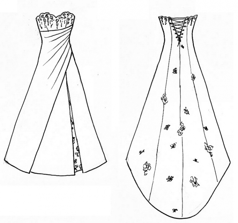 orginal design sketch by Felicity Westmacott for butterfly wedding dress with split and ruching