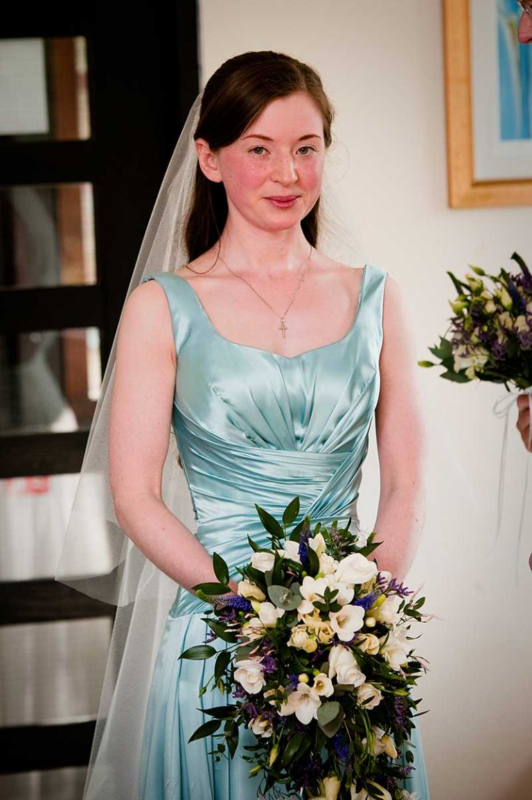 Sky blue silk satin wedding dress and long veil for Ailsa » Felicity ...