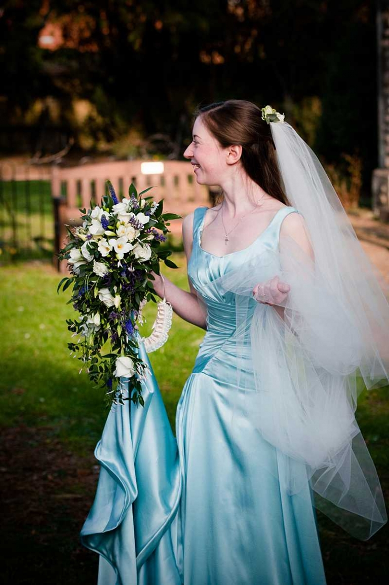 Sky blue silk satin wedding dress and long veil for Ailsa » Felicity ...