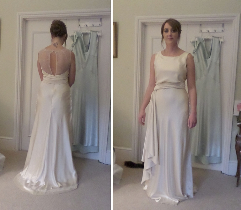 Art Deco silk and lace bias cut wedding dress for Katherine ...