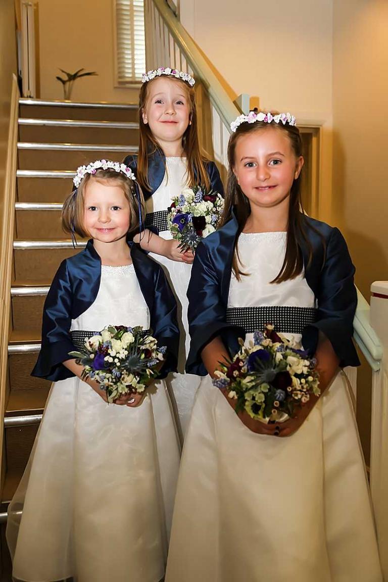 custom order flowergirl bolero jackets on the stairs