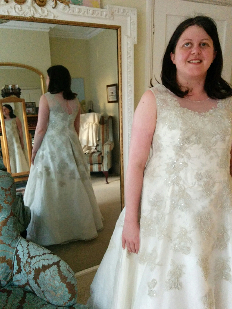 davison9 front and back in the mirror bespoke wedding dress
