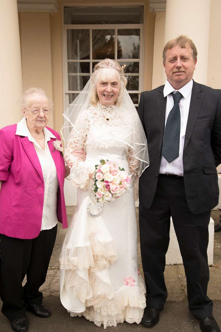 frills and furbelows Edwardian historical wedding dress