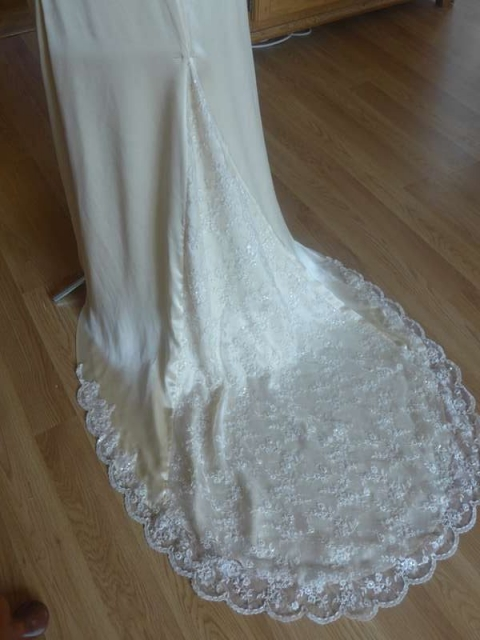 Pale gold silk satin and ivory beaded lace wedding dress for Nicola ...