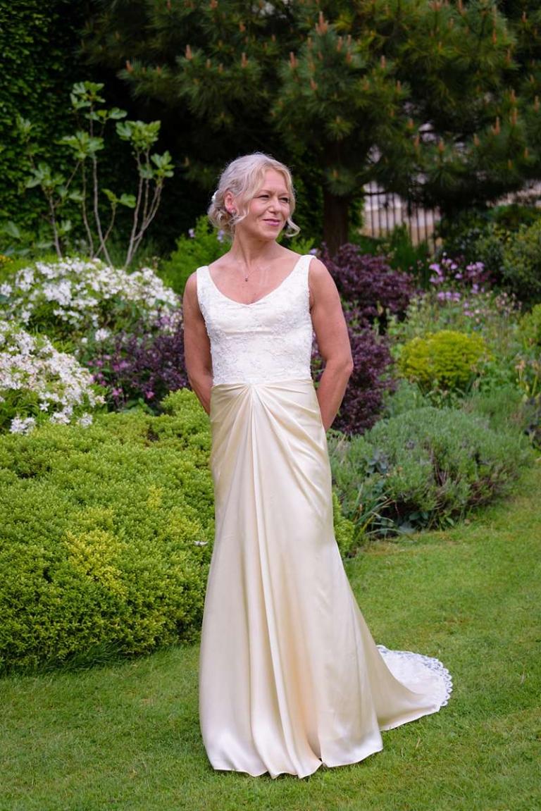 bespoke wedding dress draped skirt and boned bodice